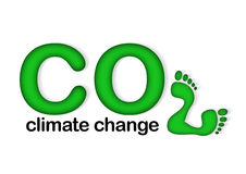 CO2 Climate Change. An Image showing the letters and number CO2 with the number 2 made up of two foot prints with the phrase climate change under neath royalty free illustration