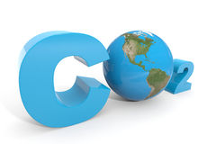 CO2 with earth globe. Computer generated image royalty free illustration