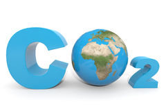 CO2 with earth globe. Royalty Free Stock Photography