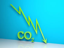 CO2 Graph. Green CO2 statistics graph on blue background vector illustration