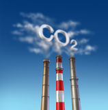 Co2 Poison smoke stack. With dirty chimney Royalty Free Stock Images