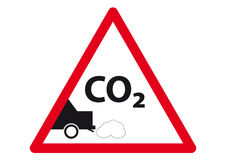 CO2 Sign. A red sign shows CO2 exhaust royalty free illustration