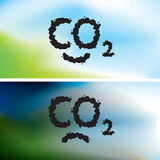 CO2 written as a smoke clouds. CO2 written as a black smoke clouds on clear and polluted sky Stock Image