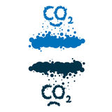 CO2 written as a smoke clouds. CO2 written as a black smoke clouds on white background Stock Images