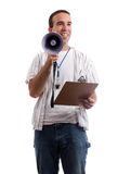 Coach. A friendly coach is holding his clipboard and a megaphone trying to promot teamwork, isolated against a white background Stock Photography