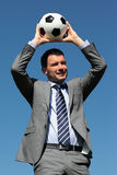 The coach. Coach with ball in a park in summer Stock Photography