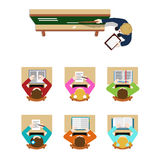 Coach blackboard and student in classroom top view vector flat Stock Photography