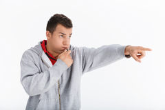 Coach Blowing Whistle. royalty free stock photo