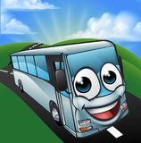Coach Bus Cartoon Character Mascot Scene. A coach bus cartoon character mascot on the road scene Stock Images