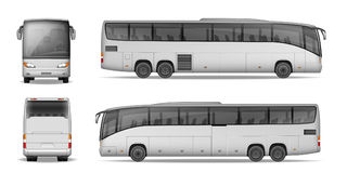 Coach bus isolated on white background. Travel Passenger Bus for advertising and your design. Realistic coach mockup. Side, Front and Back view. Vector vector illustration