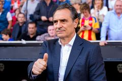 The coach Cesare Prandelli at the La Liga match between Valencia CF and FC Barcelona at Mestalla. VALENCIA, SPAIN - OCT 22: The coach Cesare Prandelli at the La royalty free stock photo