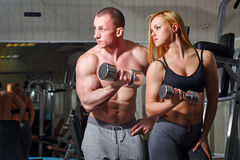 Coach client in gym Stock Image
