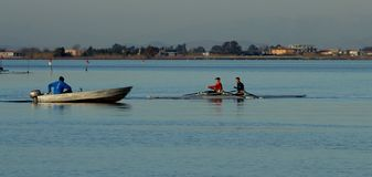 Coach,coaching,rowing,lake,boat. Rowing during training with coach Royalty Free Stock Image