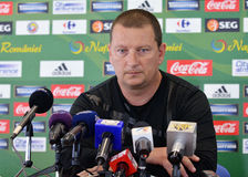 Coach of Concordia Chiajna, Ionut Chirila, during a press conference Stock Image