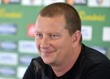 Coach of Concordia Chiajna, Ionut Chirila, during a press conference Royalty Free Stock Photos