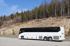 Coach in Denali National Park. Side view of white coach on road in Denali National Park with forest in background, Alaska, U.S.A Stock Photos