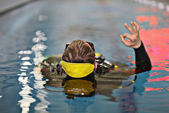 Coach diving in water Stock Image