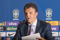 Coach Dunga. RIO DE JANEIRO/RJ, BRASIL - MAY 05, 2015 - Gilmar Rimaldi during convening of the national team for the Copa America in Chile in June Royalty Free Stock Photography