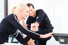 Coach giving ems training lessons Royalty Free Stock Image