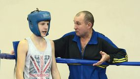 Coach giving instructions boxer stock footage
