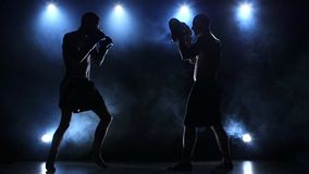 Coach helps the boxer to fulfill kick. Slow motion stock video