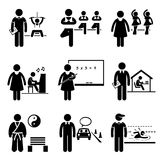 Coach Instructor Trainer Teacher Jobs Occupations. A set of pictograms representing the jobs and careers in coaching, trainer, and teacher. They are gym vector illustration