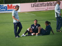 The coach of the Italia soccer team and two player Stock Photography
