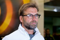 The coach Jurgen Klopp at the Europa League semifinal match between Villarreal CF and Liverpool FC. VILLARREAL, SPAIN - 28 APR: The coach Jurgen Klopp at the royalty free stock images