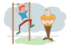 Coach And Kid. Angry Coach And Kid On The Bar vector illustration