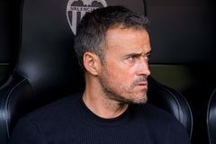 The coach Luis Enrique at the La Liga match between Valencia CF and FC Barcelona at Mestalla. VALENCIA, SPAIN - OCT 22: The coach Luis Enrique at the La Liga royalty free stock photos
