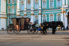 Coach at the Palace Square. St. Petersburg, Russia Royalty Free Stock Images