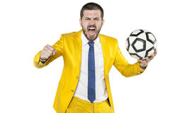 Coach screaming with joy. Isolated Stock Photos