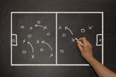 Soccer tactics on a black chalkboard. Coach showing football tactics on a black chalkboard Stock Image