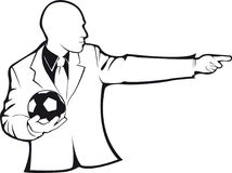 Coach with a soccer ball. Vector contour. On white background Royalty Free Stock Photo