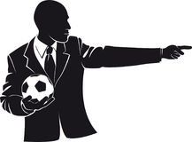 Coach with a soccer ball. Vector silhouette. On white background Royalty Free Stock Images