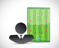 Coach and soccer plays on a board. illustration Stock Photo