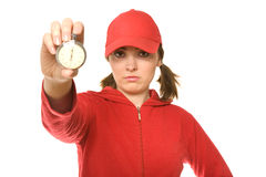 Coach with stopwatch (focus on coach) Royalty Free Stock Image