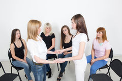 Coach and support group during psychological Royalty Free Stock Photography