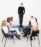 Coach and support group during psychological Royalty Free Stock Photo