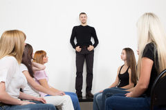 Coach and support group during psychological. Therapy Royalty Free Stock Photos