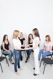 Coach and support group during psychological Stock Photos