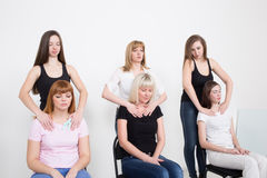 Coach and support group during psychological Stock Photo