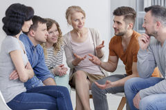 Coach and support group. During psychological therapy stock photography