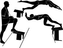 Coach and swimmer. man swimmer practice jump. swimmer athlete. Swimmer. vector illustration