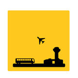 Coach to the airport signal. Vector illustration as stylized silhouette of coach bus connecting the city with the airport as signal stock illustration
