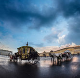 The coach for walks on the Palace Square in St. Petersburg, Russ Royalty Free Stock Images