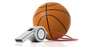 Coach whistle and basketball ball isolated on white background. 3d illustration royalty free illustration