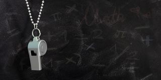 Coach whistle with chain, isolated on school blackboard background, copy space. 3d illustration stock illustration