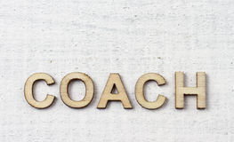 Coach. Word made with wooden letters Stock Photo