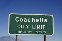 Coachella sign post in California Royalty Free Stock Photo